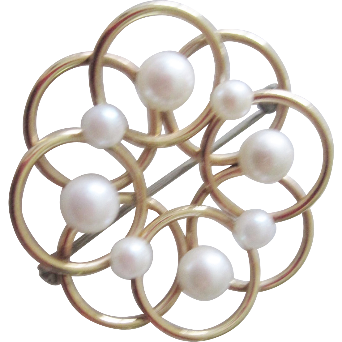 Signed Krementz Cultured pearl Swirl Pin...Mid Century