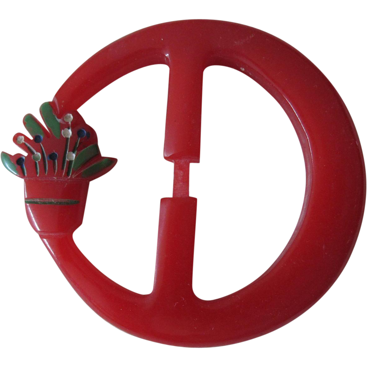 Charming Bright Cherry Red Carved Figural Bakelite Buckle
