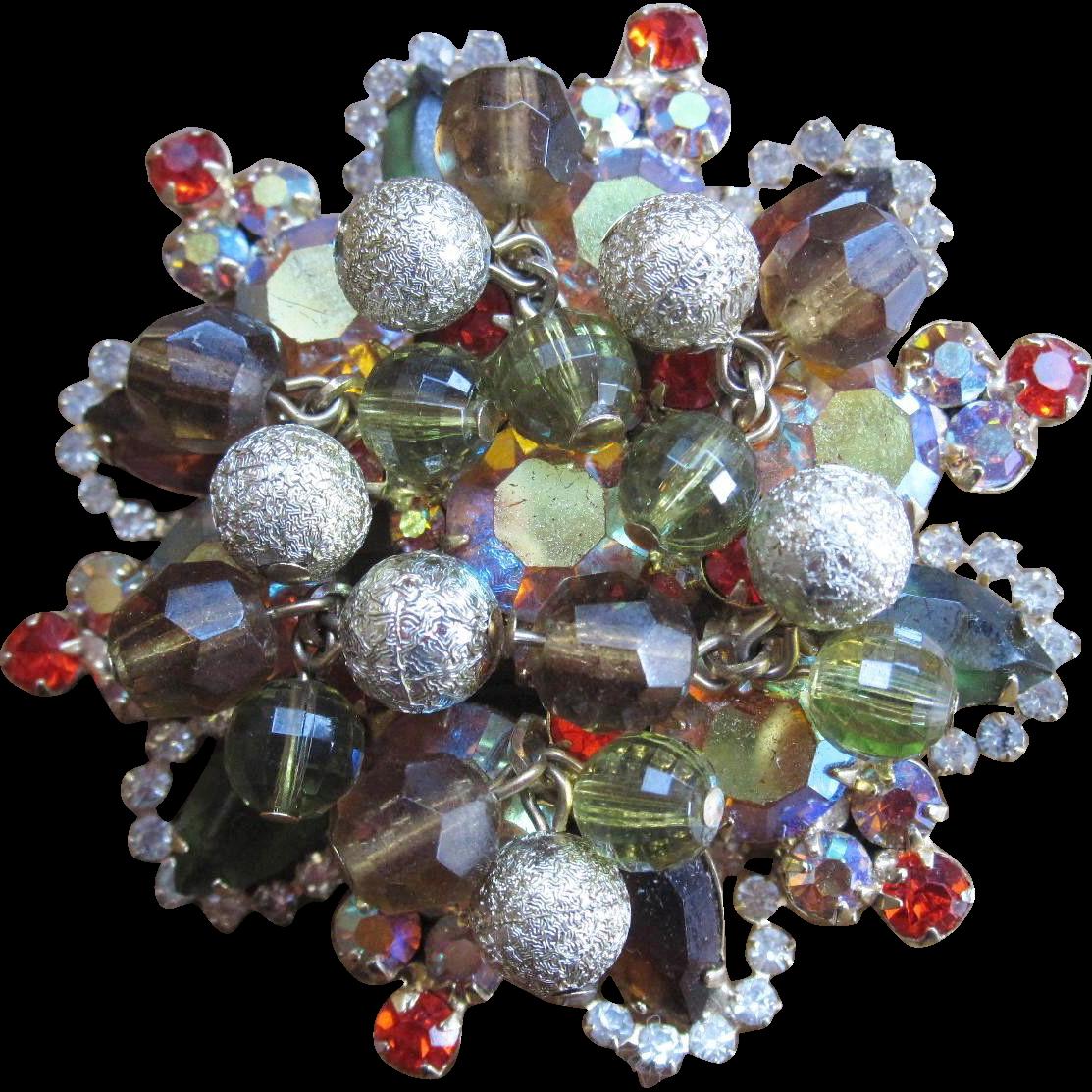 Stunning Juilana Brooch with silvered dangle balls and aurora borealis, vintage pin