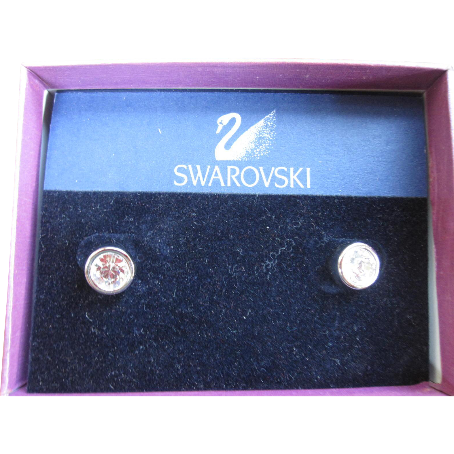 Signed Swarovski Bezel Set Crystal Pierced Earrings