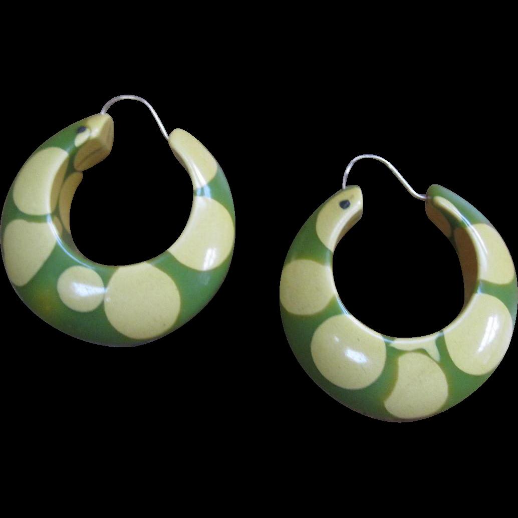 Original Random Polka Dot Bakelite Pierced Earrings