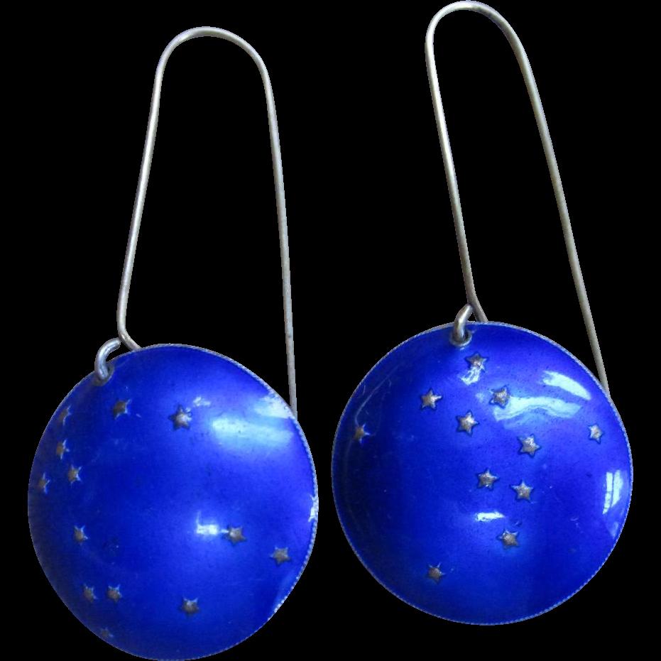Vintage Sterling Silver Cobalt Enameled Drop Gallaxy Earrings