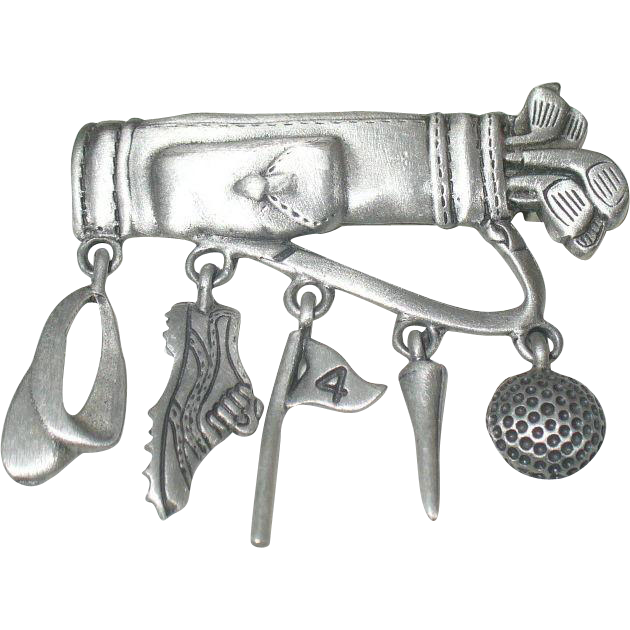 Golfing Bag motif brooch with sport dangles