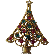 Eisenberg Ice Christmas Tree Pin, Scalloped Skirt