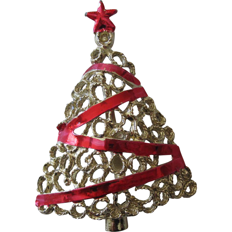 Ruby Red Ribbon Xmas Tree Brooch