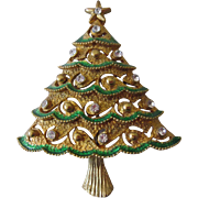 Eisenberg Ice Enameled and Jeweled Rhinestone Brooch in Xmas tree design.