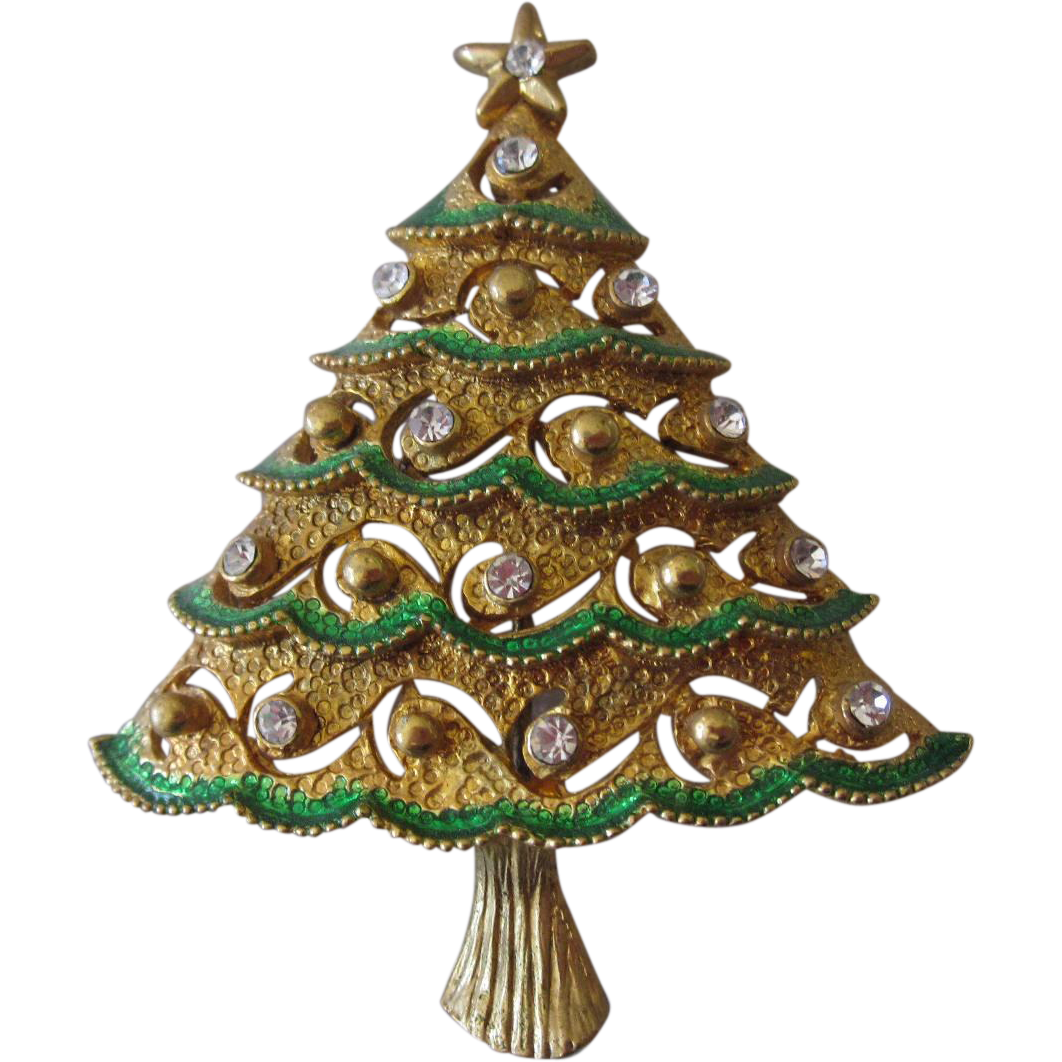Eisenberg Ice Enameled and Jeweled Rhinestone Brooch in Xmas tree design.