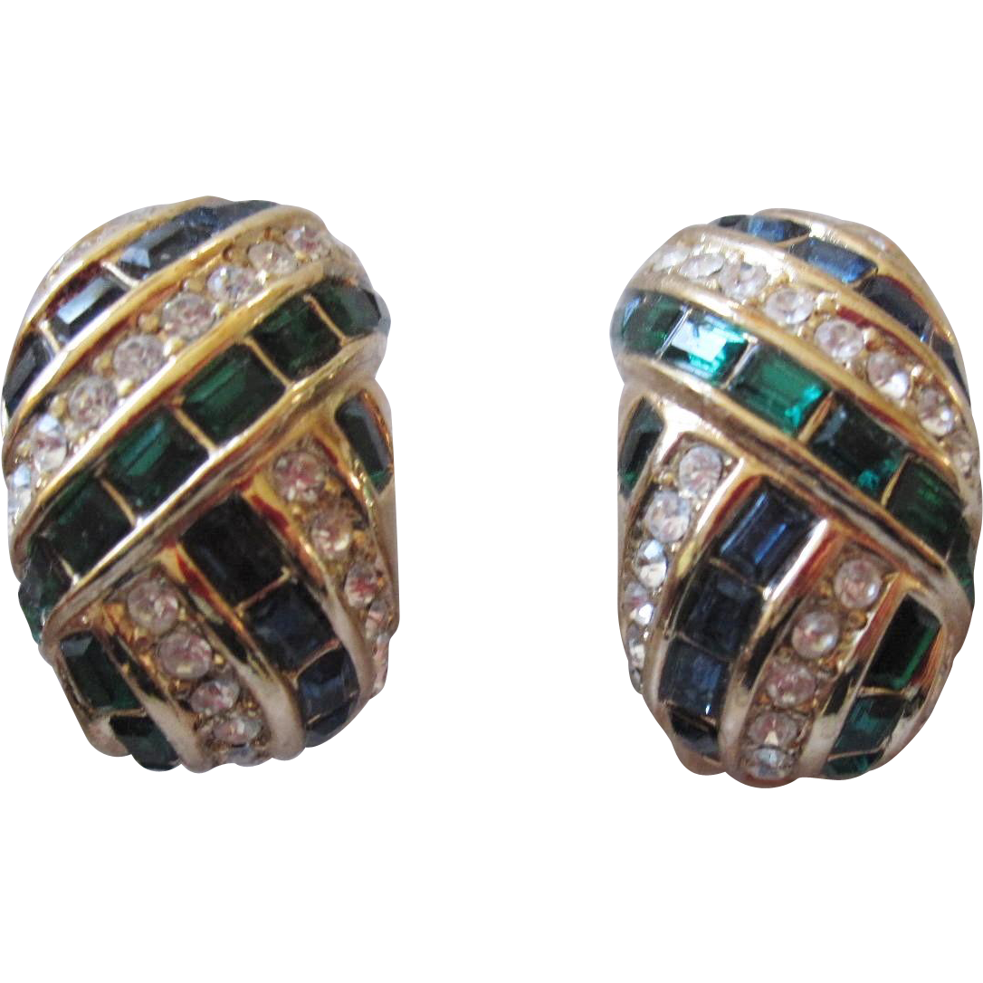 Christian Dior Gorgeous Blue and Green Square Rhinestone Earrings