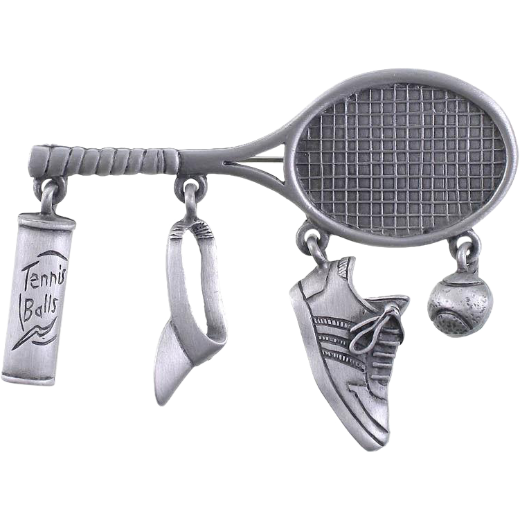 Let's talk tennis with this whimsical JJ designer signed Tennis Racket dangle brooch!