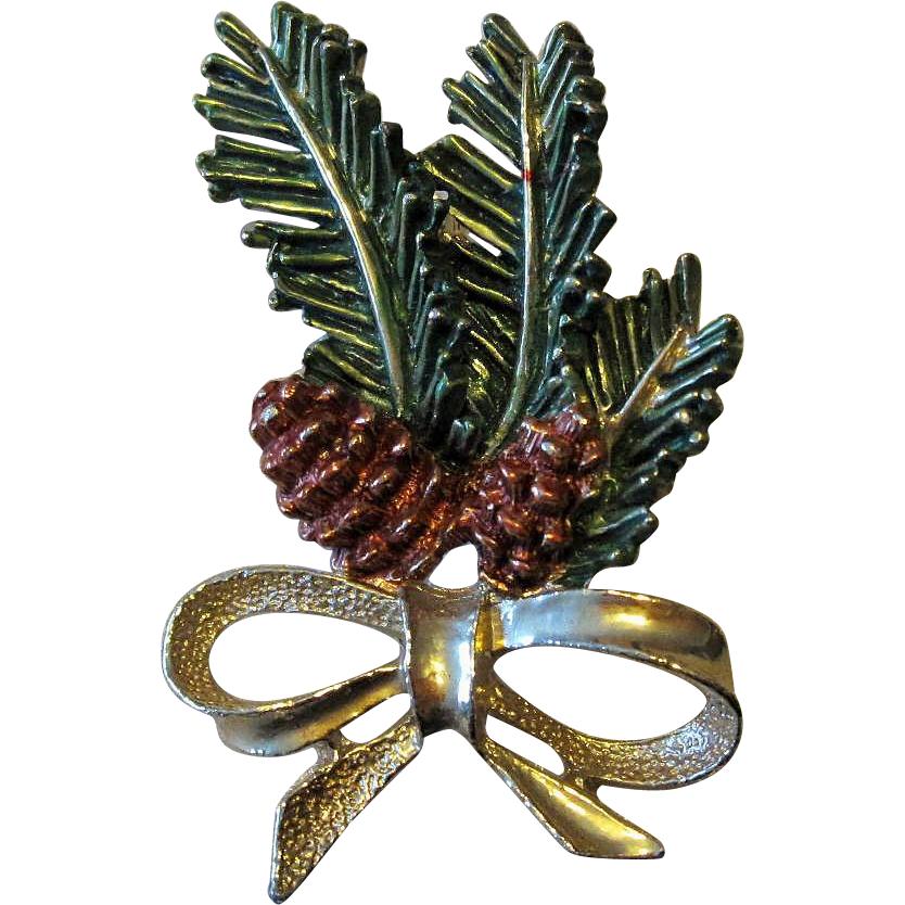 Christmas Pine Cone Foliage Holiday Pin