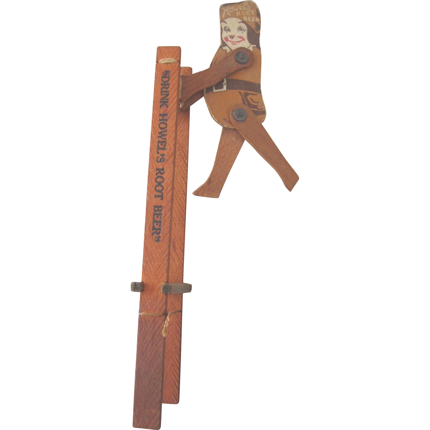 Vintage Advertising Toy: Howel's Root Beer Child's Trapeze Acrobatic Piece
