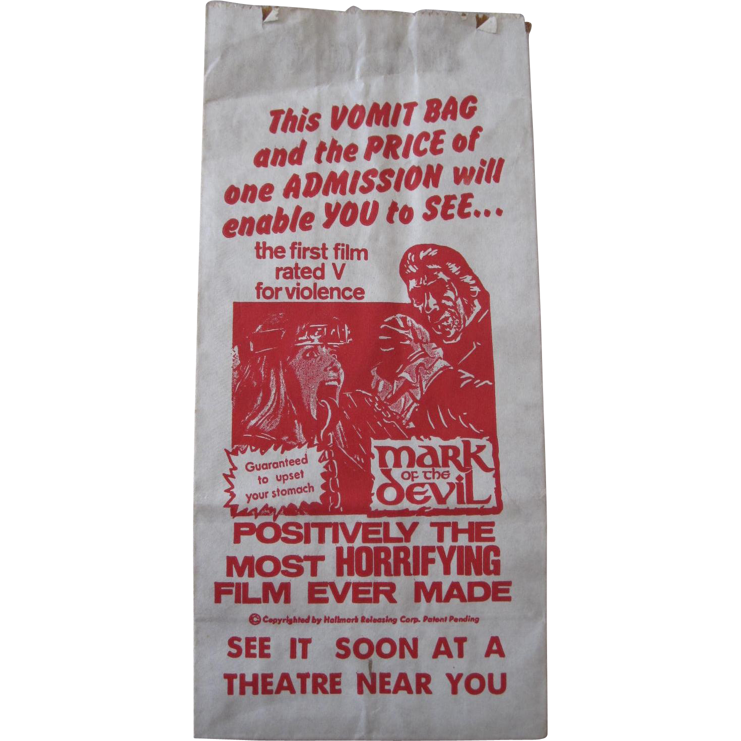 MARK OF THE DEVIL Movie Promo VOMIT BARF BAG, promotional horror film giveaway, drive in movie memorabilia
