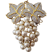 Signed Swarovski Pave Crystal jeweled Faux Pearl Grape Brooch, Retired, Rare
