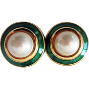 Enameled Faux Pearl Designer Ciner Cabochon Ear rings