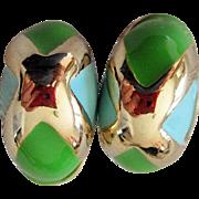 Goldtone Designer Donald Stannard Cabochon Ear rings