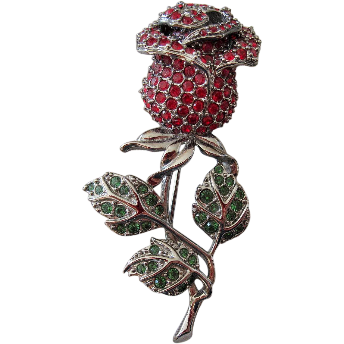 Retired Swarovski Crystal Red Rose brooch