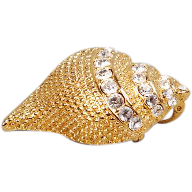 KJL Jeweled Shell brooch
