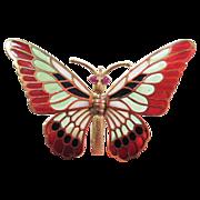 Vintage 18k Plique-à-jour Enamel Rubies Butterfly Brooch Pin