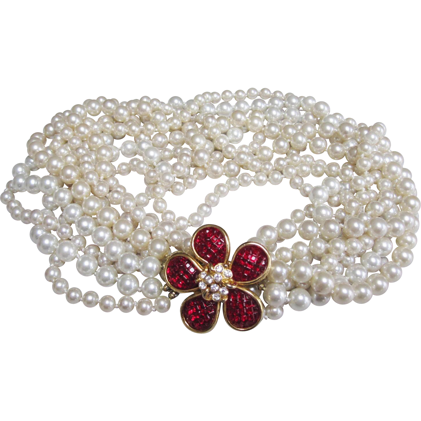 Gorgeous Invisibly set red stone clasp vintage Kenneth Jay Lane KJL multi strand pearl necklace