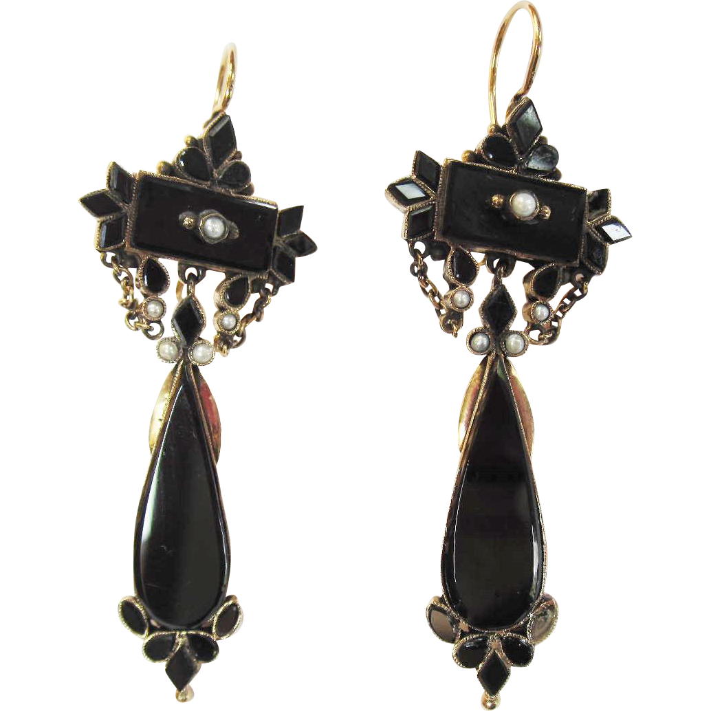 Victorian Mourning 14K gold Signed Black Onyx Pierced Earrings Pendant Drops, gorgeous!