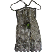 Rare Whiting & Davis Jeweled Enameled Mesh purse handbag bag BIG GREEN STONES in mesh body