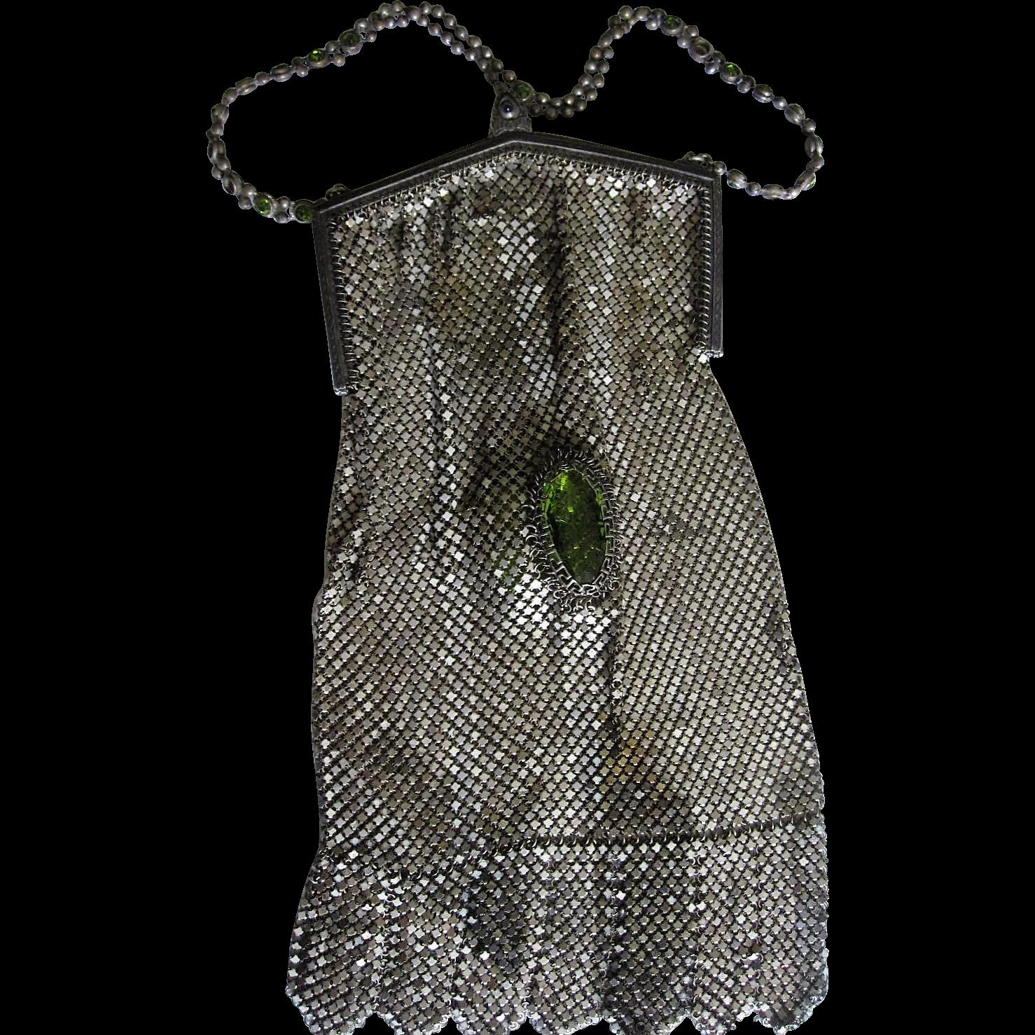 Rare Whiting & Davis Jeweled Enameled Mesh purse handbag bag BIG GREEN STONES in mesh body