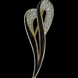 Designer signed Trifari Brooch, classic enameled and jewel encrusted pin