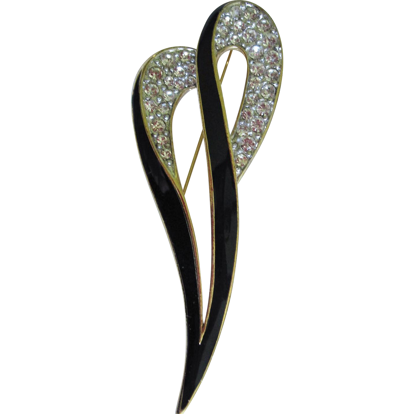 Designer signed Trifari Brooch, classic enameled and jewel encrusted pin