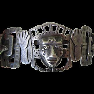 HEAVY 80.4g Vintage Signed Mexican Maciel Figural CUFF BRACELET