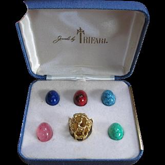 Vintage Jewelry Trifari 'Caged' Faux Gemstone Ring 5 Interchangeable Cabochons MIB Original Box!