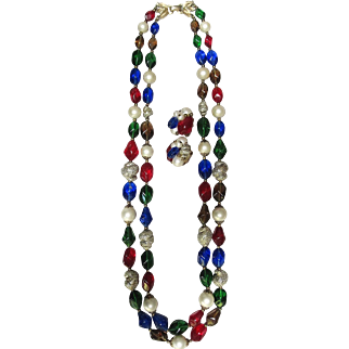 Trifari Set: Necklace & Earrings Conch Sea Shell shaped Glitter Shell Accents. Red, blue, green, amber colors