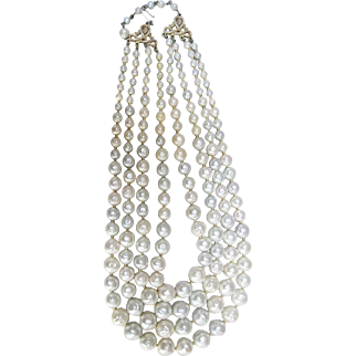 Trifari 4 strand faux baroque pearl necklace