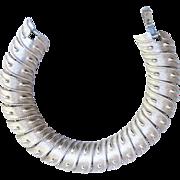 Trifari Textured Silver tone Linked Bracelet
