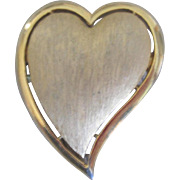 Gold tone Textured Signed Designer Trifari Heart Brooch Pin, Elegant!