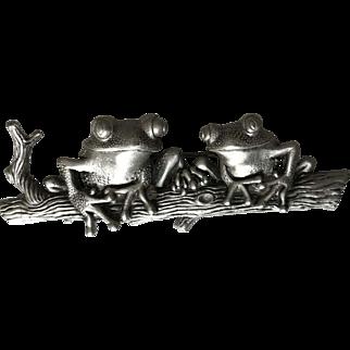 Big Designer Signed JJ Frogs on a Log Whimsical Fun Brooch