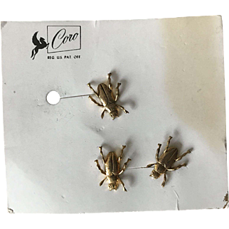 Set of 3 Fly Bug Insect CORO push pins on Original Card! Unusual