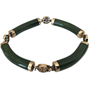Chinese Jade & 14K Yellow Gold Vintage Bracelet