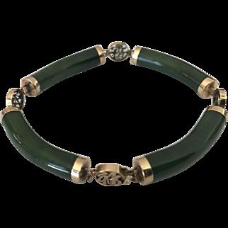 Chinese Jade & 14K Yellow Gold Vintage Bracelet