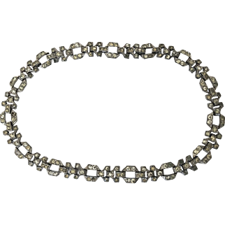 KTF TKF designer signed Trifari Necklace Rhodium