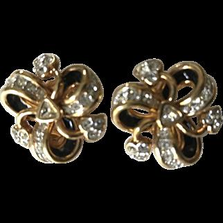 Swarovski swan Designer Bow & Ribbon Earrings