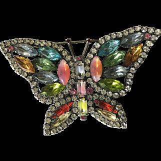 Huge designer signed KJL vintage jeweled butterfly pin
