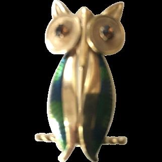 Sleek Gold Filled Signed Van Dell Owl Pin