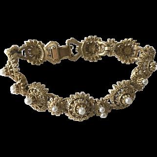 Designer signed Florenza faux pearl bracelet