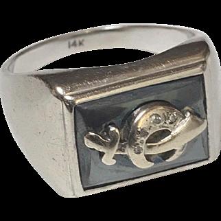 Heavy 14K White Gold Vintage Masonic Shriner's Men's Ring With Diamonds 16 GRAMS Size 11 1/2 Sizeable