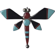 Old Zuni Pin Signed By Designer Leagus Ahiyite sterling silver coral, turquoise and black onyx dragonfly brooch Native American 3.9 GRAMS