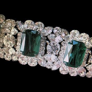 "Dazzling Juliana (D&E)bracelet big veined emerald glass stones vintage! 1 1/4"" Wide!"