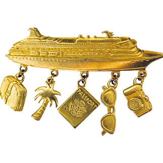 Let's Go On A Cruise! Fun vintage JJ Jonette Jewelry Pin jewelry brooch. Don't forget your sunglasses, camera & passport!