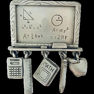 Teacher's chalkboard, pencil , qpple, book, calculator dangling pin brooch designer JJ Jonette vintage jewelry