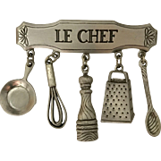 Signed JJ Le Chef culinary cooking dangling pin/brooch vintage costume jewelry piece. Designer marked