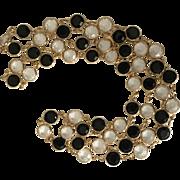 "Vintage Swarovski clear and black crystal bezel set 36 inch necklace, drops 18"" off the neck!"